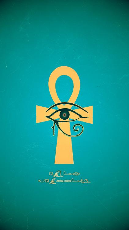 Ankh Eye Of Ra Gold Blue